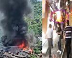 重庆江津中山古镇失火3小时 木质房被烧毁