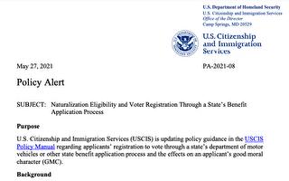 美移民局:非法选民登记 不符合入籍道德要求