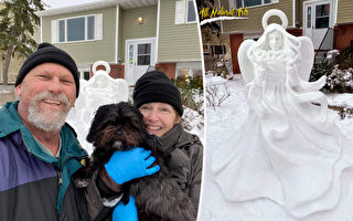 """疫情下 美国雕塑家创作雪雕""""希望天使"""""""