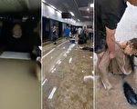 水災致京廣線鄭州段路基下沉 列車發生傾斜