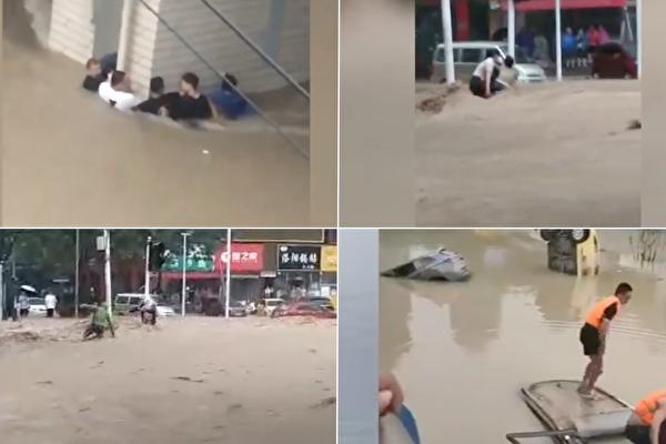 【一线采访】目击大水汹涌 郑州马路成河