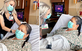 爱心护士利用休息时间为病患梳头编辫子