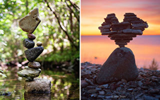 组图:瑞典摄影师用高超平衡技巧玩叠石头