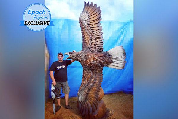 组图:电锯艺术家用原木雕出展翅翱翔巨鹰