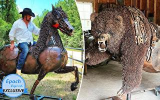 组图:废金属打造的大型动物雕塑 独特逼真