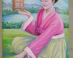 油畫:朝鮮姑娘打手印
