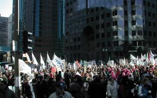 """蒙市""""三八""""大游行 反对魁省政策"""