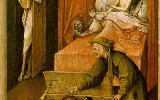 波许 《死神和守财奴》约1490年作,油画于木板,93x31cm,华盛顿国家画廊收藏。(大纪元)