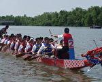 华府龙舟赛在波多马克河边举行 (大纪元记者摄影)