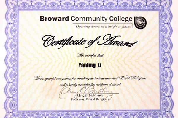 布勞沃德郡學院項義務講課教功的法輪功學員頒發的褒獎證書(大紀元)