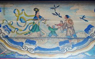 頤和園長廊上「牛郎織女鵲橋會」的彩繪。(公有領域)