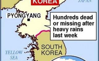 據報北韓豪雨造成近三千人喪生或失蹤