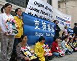英國法輪功學員要求釋放高智晟律師並聲援東航機師袁勝。(大紀元)