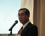 张继昭博士11月26日在东京以拉法叶舰案国际大丑闻为题在东京发表演讲(大纪元记者张本真东京摄影)