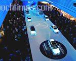 第62屆法蘭克福國際國際汽車展(IAA)上,戴姆勒-克萊斯勒汽車公司象徵藍色技術的展台(攝影:曹工/大紀元)