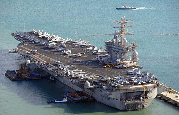 參加「關鍵決斷」韓美聯合軍事演習的美國「尼米茲」號航空母艦。(Photo credit should read KIM JAE-HWAN/AFP/Getty Images)