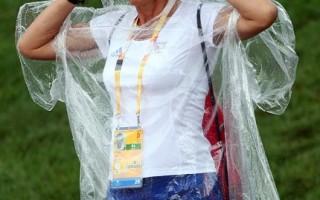 北京奧運馬術比賽場地–香港,8月7日遭逢大雨侵襲。(Julian Herbert/Getty Images)