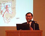 腫瘤專科王禮聖醫師在華人聖經教會主講認識和預防大腸癌。(金沙攝影/大紀元)