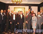 圖:袁健生(前排中)在「美國國家戰略學會」演講。前排左一為「美國國家戰略學會」主席弗裡德曼。(攝影:唐寅/大紀元)