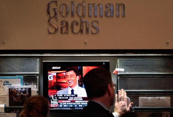 紐約證券交易所的高盛展位。 (Photo by Chris Hondros/Getty Images)