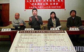 公督盟:超过1/3立委支持两岸协议国会审议