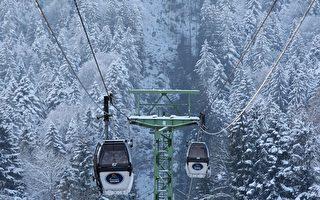 德国雪场缆车出事 直升飞机救游客脱险