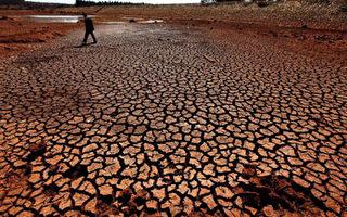 2月2日昆明市石林縣高石哨綠塘子水庫乾旱得露出了池底(GETTY IMAGES)