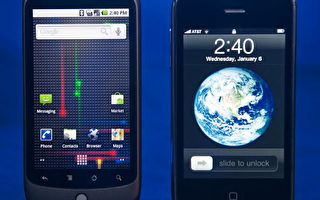 Google 的Nexus One手机(左)和苹果的iPhone(右) (PAUL J. RICHARDS/AFP/Getty Images)