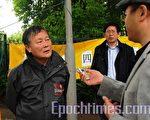 6月9日下午,著名民運領袖,「中國民主運動海外聯席會議」主席魏京生在中使館門前,參加丹麥民運人士紀念「六四」活動,並接受記者採訪(攝影:林達/大紀元)