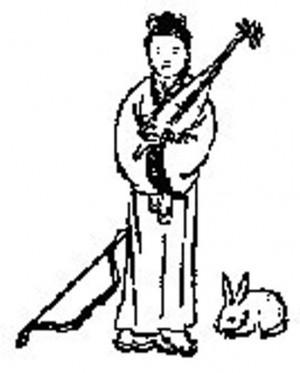 第四十二象中一位古代装束的东方女子,抱着一支琵琶,端庄的站在画的中间,其左边是一个放在地上的弯弓,右边卧着一只玉兔。(新纪元资料室)