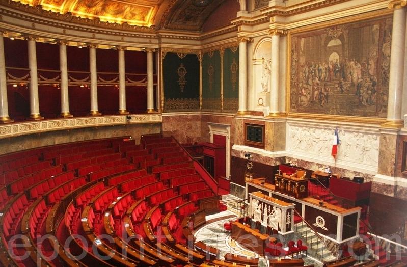 圖為法國國民議會(下院)會議大廳。(章樂/大紀元)