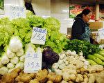 國家統計局稱,全國八成食品價格普漲30%。只見物價高,不見工資漲,各地民眾對此非常不滿。圖為11月10日北京一市場中的蔬菜攤。(GOU YIGE/AFP/Getty Images)