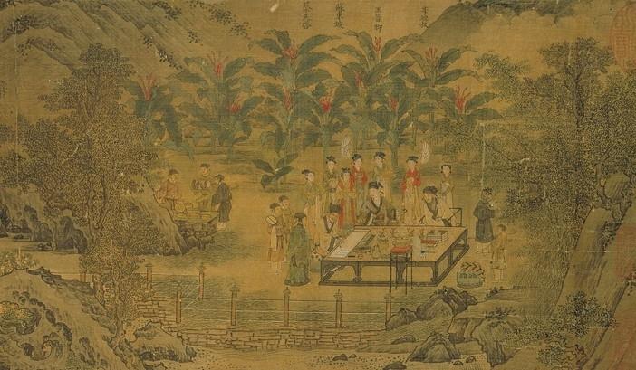 宋.劉松年《西園雅集》局部,畫中眾人圍觀蘇軾寫書法。(公有領域)