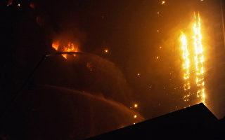 东北第一高楼 除夕夜遭大火烧通顶