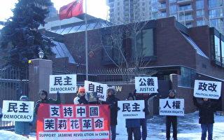 """加拿大卡尔加里华人继续声援""""中国茉莉花革命""""第三波"""