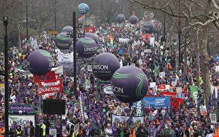 抗议政府削减开支 25万人伦敦大游行