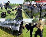 面對與日俱增的中國民眾維權抗議和暴動事件﹐中共目前使用的是鐵腕政策﹐通過軍警嚴厲鎮壓。圖為中國抗暴警察2005年7月13日在西安市的一項檢閱儀式上。(STR/AFP/Getty Images)