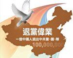 截至2011年8月7日,在大紀元網站上公開聲明退黨、退隊、退團的三退人數,累計超過一億人。(新唐人)