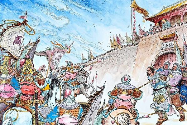 唐太宗縛著竇建德到東都洛陽城下,王世充看到竇建德被俘,遂率官兵請降。(繪圖:曹醉夢/大紀元)