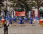 2011年8月19日,中國大陸移民吳應鑑先生在溫哥華民眾慶祝一億中國人三退集會上發言。(攝影:邱晨/大紀元)