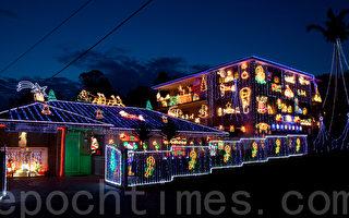 夏日風情 南半球澳洲悉尼民宅聖誕燈飾
