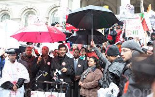 罚款过重 纽约街头小贩集会抗议