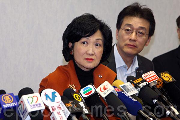 曾在董建華政府時期追隨北京力推23條立法的葉劉淑儀,2月20日晚在灣仔的新民黨總部宣布參選特首。(攝影:潘在殊/大紀元)