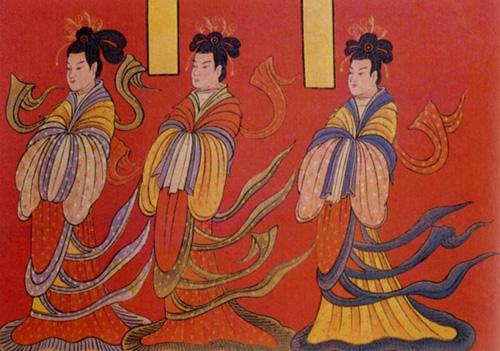 北魏前期,屏风漆画《列女古贤图》局部梳十字髻穿杂裾的女子。(公有领域)
