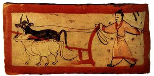 《耕犁图》,魏晋砖画。(公有领域)