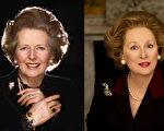 英國前首相撒切爾夫人(左)和梅里爾飾演的《鐵娘子》(右)(大紀元合成圖)