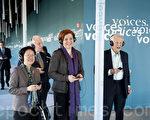 紐約市議長柯魁英在3月7日上午參觀了猶太遺產博物館。(攝影﹕戴兵/大紀元)