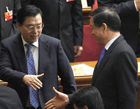 被外界認為屬於江澤民嫡系的張德江,3月13日在兩會上還與薄熙來握手,15日即接掌了薄的職務。對胡表忠的強度也令人咋舌。(AFP)