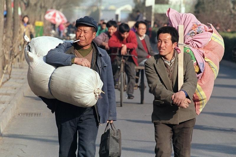 中國農民工。(ROBYN BECK/AFP/Getty Images)