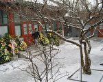 三週年祭日傍晚,白雪皚皚的紫陽書房,王雁南。(俞梅蓀提供)